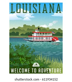 Louisiana travel poster or sticker. Vector illustration of vintage paddle wheel riverboat and scenic landscape