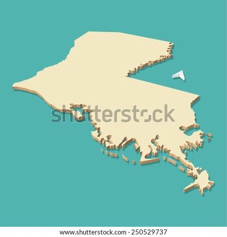 Louisiana Usa Map Three Dimensional Vector Stock Vector Royalty