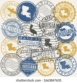 Louisiana, USA Set of Stamps. Travel Passport Stamps. Made In Product. Design Seals in Old Style Insignia. Icon Clip Art Vector Collection.