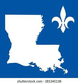 Louisiana USA State map. Fleur de lis symbol. logo template icon vector