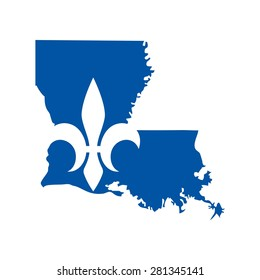 Louisiana USA State map. Fleur de lis symbol. logo template icon vector