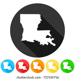 Louisiana USA Symbol Icon Round Flat Vector Art Design Color Set