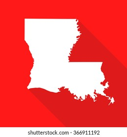 Louisiana white map,border flat simple style with long shadow on red background