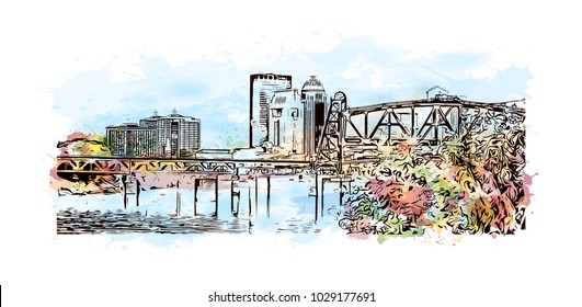 Louisville City in Kentucky, USA. Watercolor splash with hand drawn sketch illustration in vector.