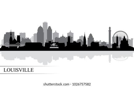 Louisville city skyline silhouette background, vector illustration