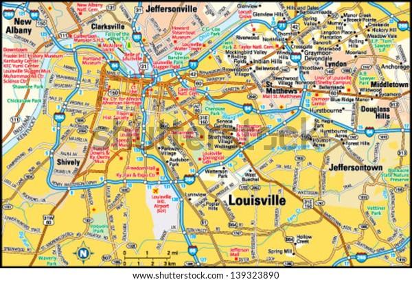 Louisville, Kentucky area map