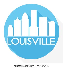 Louisville Kentucky, Skyline Button Icon Round Flat Vector Art Design Color Background Logo.