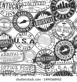 Louisville Kentucky Stamps. City Stamp Vector Art. Postal Passport Travel. Design Set Pattern.