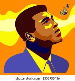 Louisville, Kentucky, U.S. - March 15 2019: Muhammad Ali was an American professional boxer, activist, and philanthropist. Vector editorial portreit.