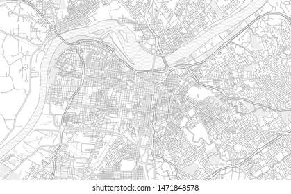 Louisville, Kentucky, USA, bright outlined vector map with bigger and minor roads and steets created for infographic backgrounds.