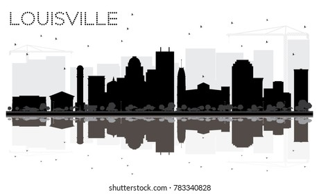 Louisville Kentucky USA City skyline black and white silhouette with Reflections. Simple flat illustration for tourism presentation, banner, placard or web site. Louisville Cityscape with landmarks.