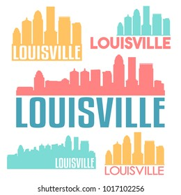 Louisville Kentucky USA Flat Icon Skyline Silhouette Design. City Vector Art Famous Buildings Color Set.