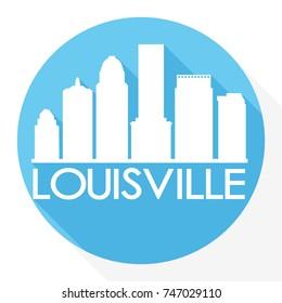 Louisville Skyline Button Icon Round Flat Vector Art Design Color Background