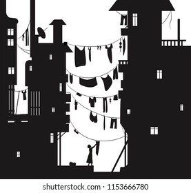 loundry day in the city, woman hungs the washing cloth, cloth hung between the houses, summer sity view with cloth wire silhouette, black and white, vector