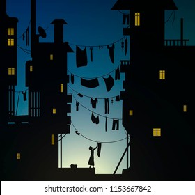 loundry morningin the city, woman hungs the washing cloth, cloth hung between the housesin the early morning,  vector