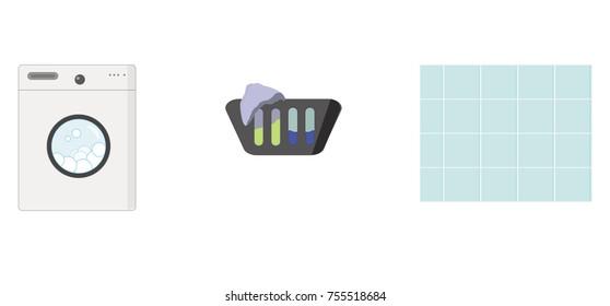 loundry set of 3 isolated items (washing mashine, basket and tile)