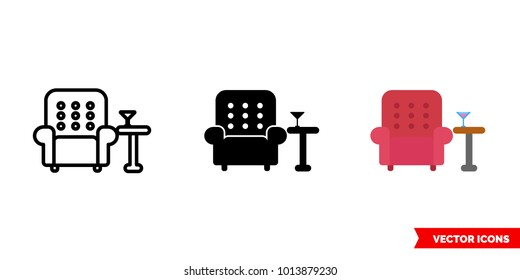 Lounge icon of 3 types: color, black and white, outline. Isolated vector sign symbol.