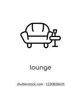 lounge icon. Trendy modern flat linear vector lounge icon on white background from thin line Hotel collection, outline vector illustration