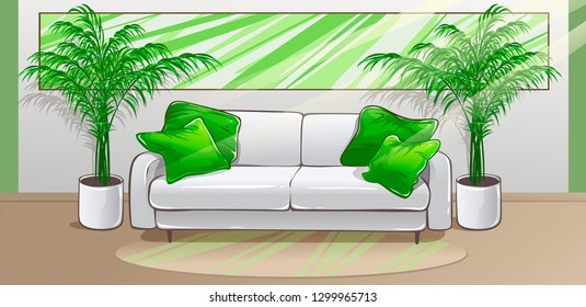 Lounge and indoor plants. Vector illustration.