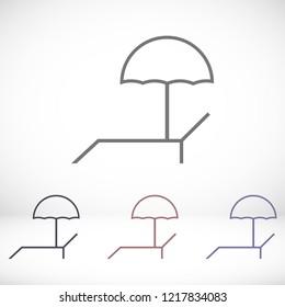 Lounger Beach Sunbed Chair vector icon