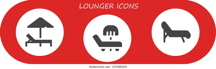 lounger icon set. 3 filled lounger icons. Simple modern icons about  - Sunbed, Deck chair