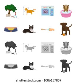 Lounger for a pet, clipping of claws in a vet clinic, lying dog, puppy with a ball. Vet clinic and pet,dog care set collection icons in cartoon,monochrome style vector symbol stock illustration web.