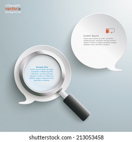 Loupe with 2 white speech bubbles on the grey background. Eps 10 vector file.