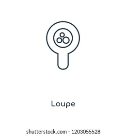Loupe concept line icon. Linear Loupe concept outline symbol design. This simple element illustration can be used for web and mobile UI/UX.