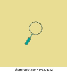 Loupe  Flat line icon on yellow background. Vector pictogram with stroke