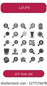 loupe icon set. 25 filled loupe icons. Simple modern icons about  - Search, Magnifying glass, Glass, Loupe, Zoom, Detective, Zoom out
