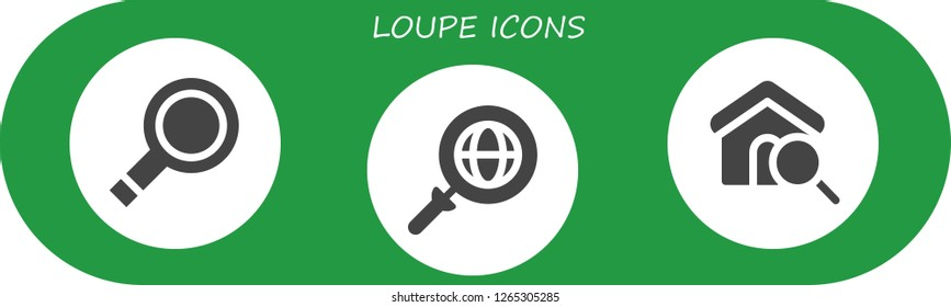 loupe icon set. 3 filled loupe icons. Simple modern icons about  - Magnifying glass, Search