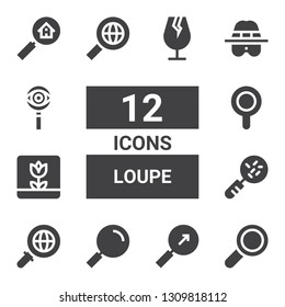 loupe icon set. Collection of 12 filled loupe icons included Find, Search, Loupe, Macro, Magnifier, Detective, Glass