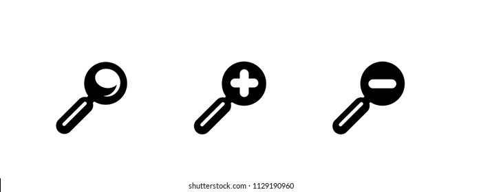 Loupe, magnifier optical equipment, tool vector illustration icon set, group, simple black pictograms