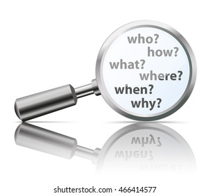 Loupe with questions Who, How, What, Where, Why, When. Eps 10 vector file.