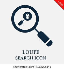 Loupe search icon. Loupe icon in magnifier icon. Editable Loupe search icon for web or mobile.