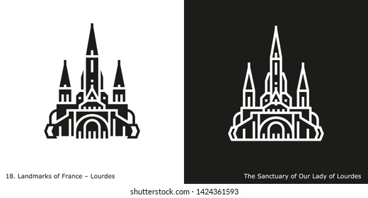 Lourdes - The Sanctuary of Our Lady of Lourdes. Outline and glyph style icons of the famous landmark from France.
