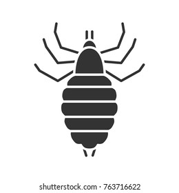 Louse glyph icon. Human parasite. Silhouette symbol. Negative space. Vector isolated illustration