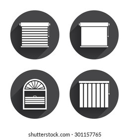 Louvers icons. Plisse, rolls, vertical and horizontal. Window blinds or jalousie symbols. Circles buttons with long flat shadow. Vector