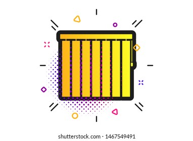 Louvers vertical sign icon. Halftone dots pattern. Window blinds or jalousie symbol. Classic flat louvers icon. Vector