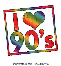 I love 90's sign or stamp on white background, vector illustration