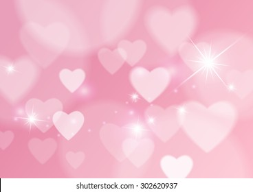 Love Abstract Background with Hearts and Bokeh Lights, Vector Illustration