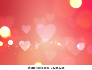Love Abstract with Hearts and Bokeh Lights Pink Background, Vector Illustration