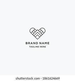 love abstract logo line art vector design template download