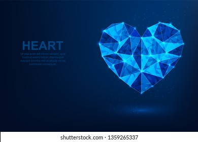 Love. Abstract vector polygonal wireframe concept. Illustration dark blue background.  Heart symbol diamond shape