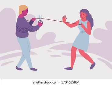 Love addiction. Psychological concept. Parting of two people. Difficult relationship. The gap. Divorce. Colorful vector illustration.