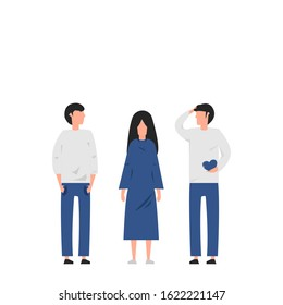 Love affair and conflict between three people arguing on white background, Flat concept