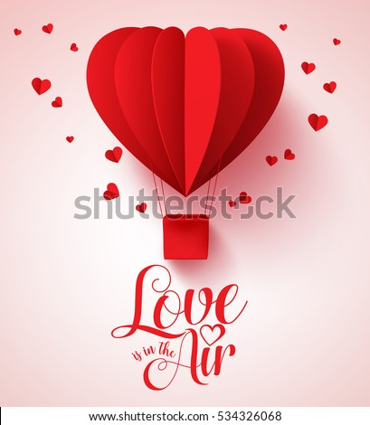 Love Air Typography Valentines Day Paper Stock Vector Royalty Free