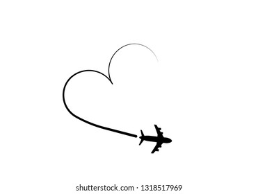 Love airplane route. Romantic travel, heart dashed line trace and plane routes. Hearted airplane path, flight air dotted love valentine day vector illustration