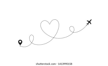 Love airplane route. Romantic travel, heart dashed line trace and plane routes. Hearted airplane path.