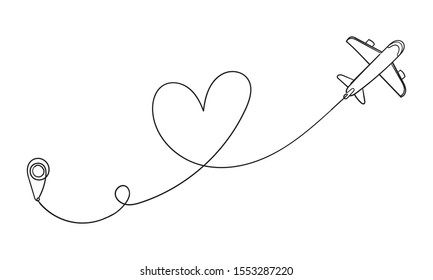 Love airplane route. Romantic travel, heart line trace and plane routes. Hearted airplane path, flight air trace love valentine day drawing with doodle hand drawn style vector
